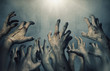 canvas print picture - Zombie hands rising in dark Halloween night.