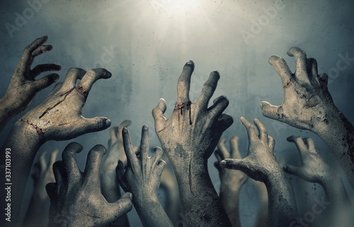 Zombie hands rising in dark Halloween night. Wallpaper Mural