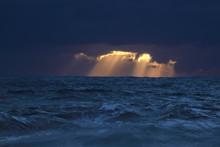 Dark Sunset With Light Rays