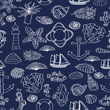 Vector Illustration Of Seamless Pattern With Ocean Inhabitants, Ship, Lighthouse.Underwater World