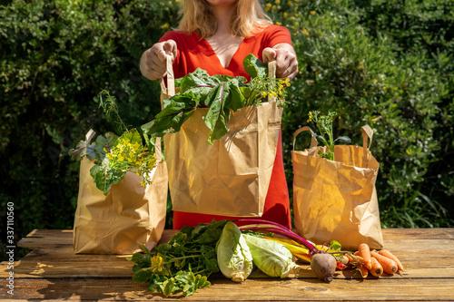 Obraz Une jeune fille tend un des trois sacs remplis de légumes du jardin  - fototapety do salonu
