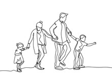 Continuous Line Drawing Of Fam...