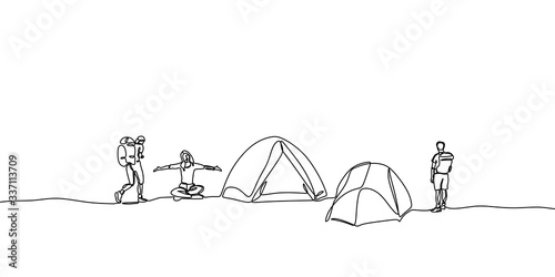 One line drawing people camping Fototapete