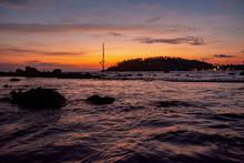 Orange Sunset With Purple Water In Mirissa, Sri Lanka