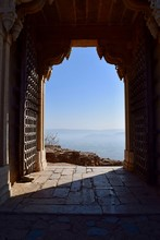 Mountains And Clear Sky Seen Through Doorway Of Fort