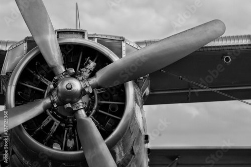 Close-up Of Airplane Against Sky Canvas Print