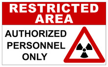 Restricted Area Sign For Radiations