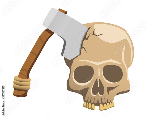 Vector illustration of an axe in a human cracked skull with a missing tooth isolated on a white background Canvas Print