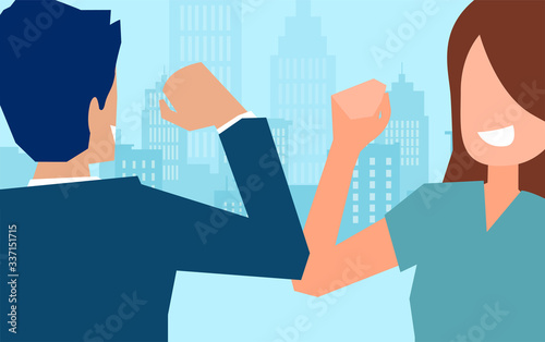Vector of a man and woman doing elbow bump to avoid the spread of coronavirus Canvas