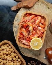 Top View Of Boiled Shrimp Serv...