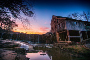 Sunset over the historic Yates Mill in Raleigh, North Carolina.