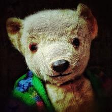 Stuffed Teddy Bear Against Black Background