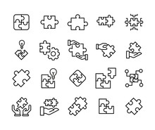 Simple Set Of Solution Icons In Trendy Line Style.