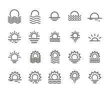 Icon Set Of Sunset.