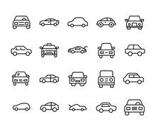 Car Line Icons Set.