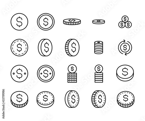 Fototapeta Simple set of coin icons in trendy line style. obraz
