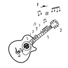 Vector Illustration Of Vintage Guitar On White Background