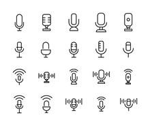Stroke Line Icons Set Of Micro...
