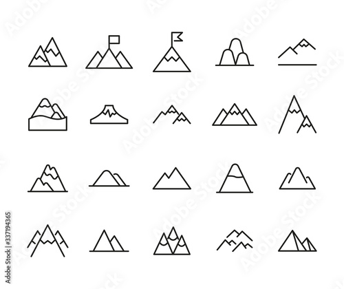 Icon set of mountain. Wall mural