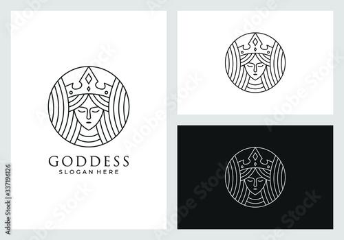 Fotografiet goddess logo design in line art style