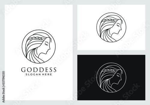 Photographie goddess logo design in line art style