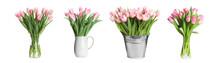 Set With Beautiful Tulip Flowe...