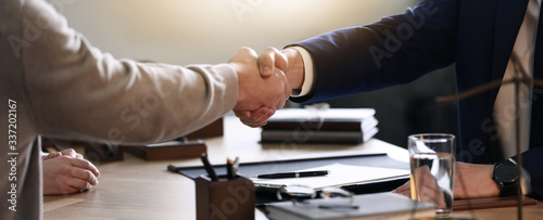 Fototapeta Male lawyer working with clients in office, closeup. Banner design obraz