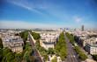 Paris Skyline. La Defense Business Area, La Grande Armee Avenue and Avenue Foch.