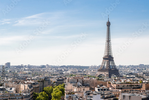 View on Eiffel Tower from Arc de Triomphe in Paris.