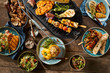 Vegetarian barbecue grill and various dishes