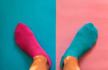 Feet Left Pink Sock Right Blue
