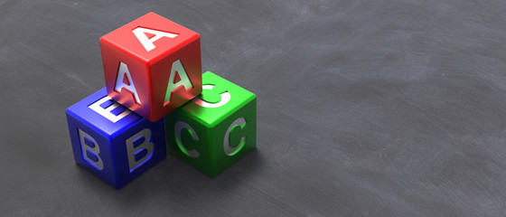 Abc colorful blocks on blackboard background. 3d illustration