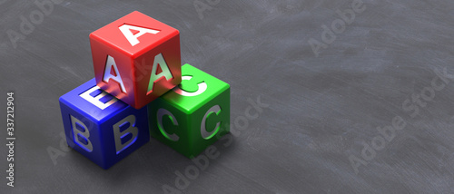 Photo Abc colorful blocks on blackboard background. 3d illustration