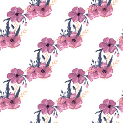 Simple cute floral bouquet vector pattern with small and medium flowers and leaves.