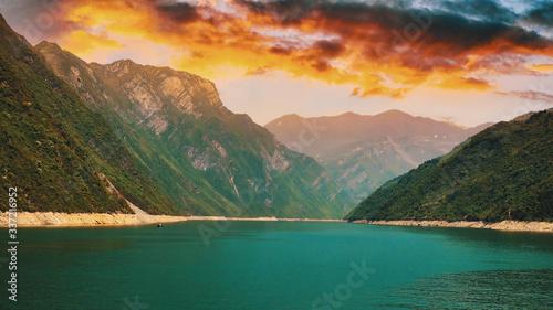 China, río, white emperor city, Yangtze River, montaña, cerro, chino, nubes, agua, lago, verde, azul, celeste, río,