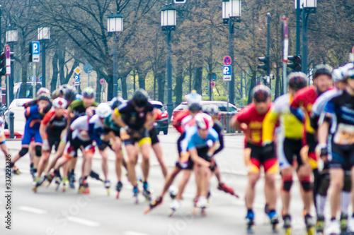 Fototapeta People Roller Skating On Street