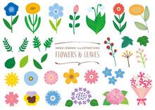 花と葉っぱの素材セット