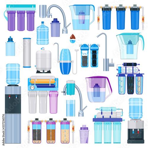 Fotografía Water filtration icons set