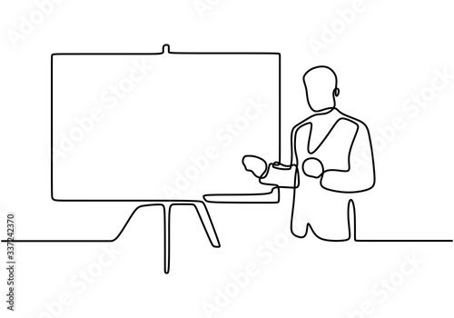 Fototapeta continuous line drawing of business presentation. Explain the idea with points to the screen tells the presentation. Business trainer talking. Vector illustration obraz