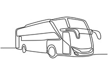 One Line Drawing Of Public Tra...