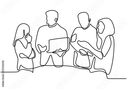 Photo continuous line drawing of coworkers standing to discussing work
