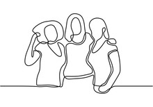 Three Women Embrace Each Other. Three Female Sisters Greeting Loving Each Other. Young Sisters Group Of Family In Front Of View Pose.