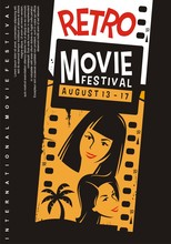 Retro Movies Festival Promotional Poster Design With Girls Portraits, Film Strip And Palm Tree. Hollywood Romantic Comedies Cinema Show Vector Flyer Graphic.