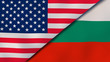 The flags of United States and Bulgaria. News, reportage, business background. 3d illustration