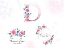 Watercolor Floral Logo Set For...
