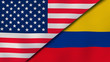 The flags of United States and Colombia. News, reportage, business background. 3d illustration