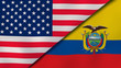 The flags of United States and Ecuador. News, reportage, business background. 3d illustration