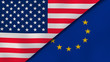 The flags of United States and European Union. News, reportage, business background. 3d illustration