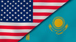 The flags of United States and Kazakhstan. News, reportage, business background. 3d illustration