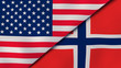 The flags of United States and Norway. News, reportage, business background. 3d illustration